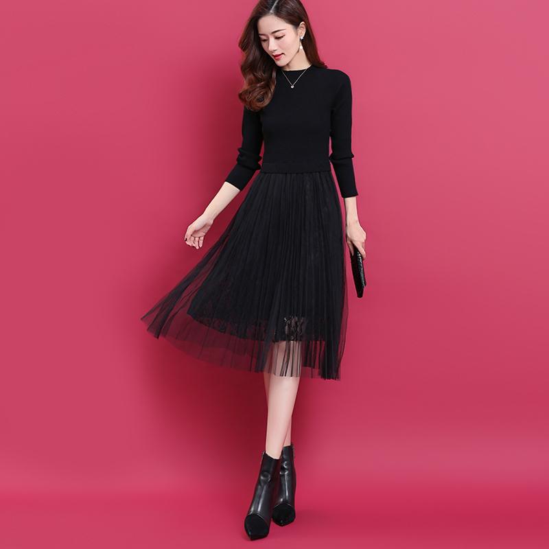2020黑色蕾丝连衣裙秋冬季下摆网纱拼接针织百褶裙女中长款羊毛裙
