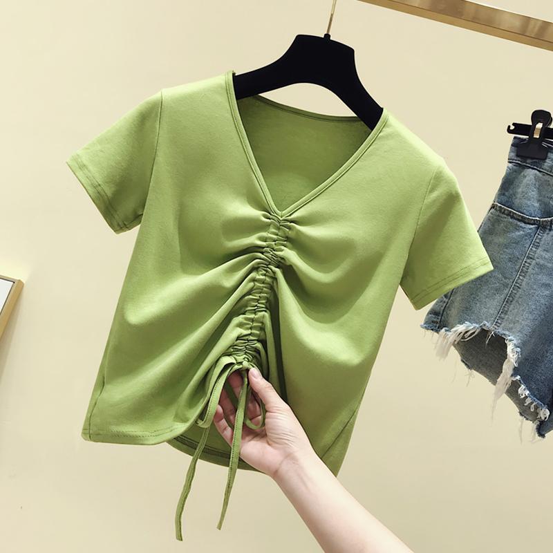 牛油果绿女短袖2019新款韩版t恤
