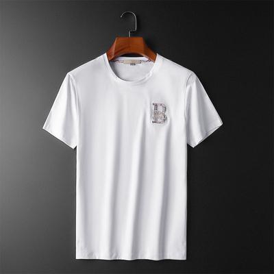 20夏季新款丝光棉男士字母刺绣休闲短袖t恤男潮白2031-T8058-P75