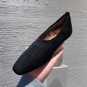 苏木槿奶奶鞋2020秋冬韩国女鞋平底兔毛加绒保暖温柔毛毛