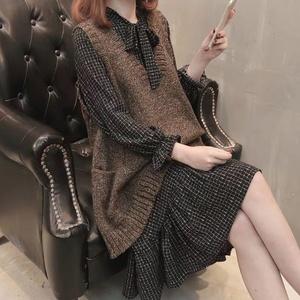 大码套装女200斤毛衣马甲女雪纺连衣裙秋季女装宽松显瘦 针织背心