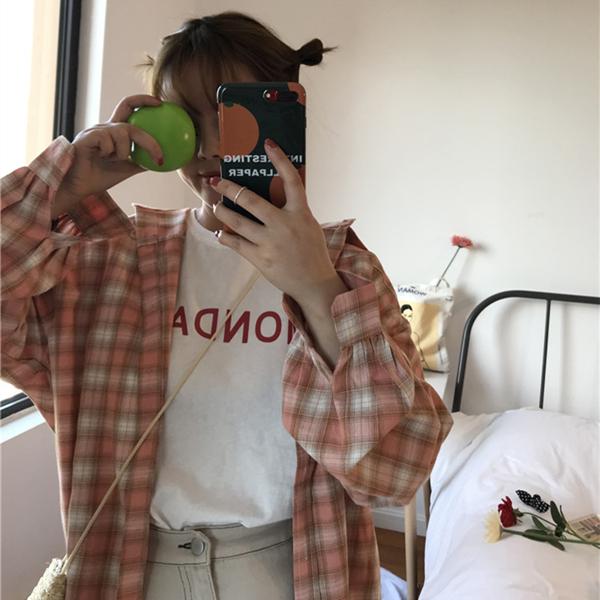 超火衬衫女学生韩版宽松百搭ulzzang原宿风bf长袖格子上衣外套薄