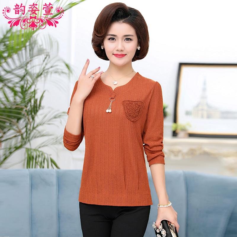中年女装秋装长袖打底衫40-50岁妈妈装新款针织衫中老年女装上衣