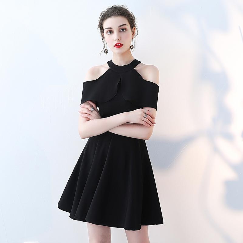 晚礼服女2019新款宴会短款气质派对小个子黑色连衣裙名媛洋装显瘦