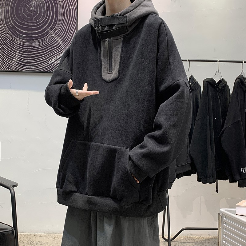High collar mens winter Hoodie, handsome and versatile, casual and loose, Hong Kong style clothes, Korean fashion Plush coat