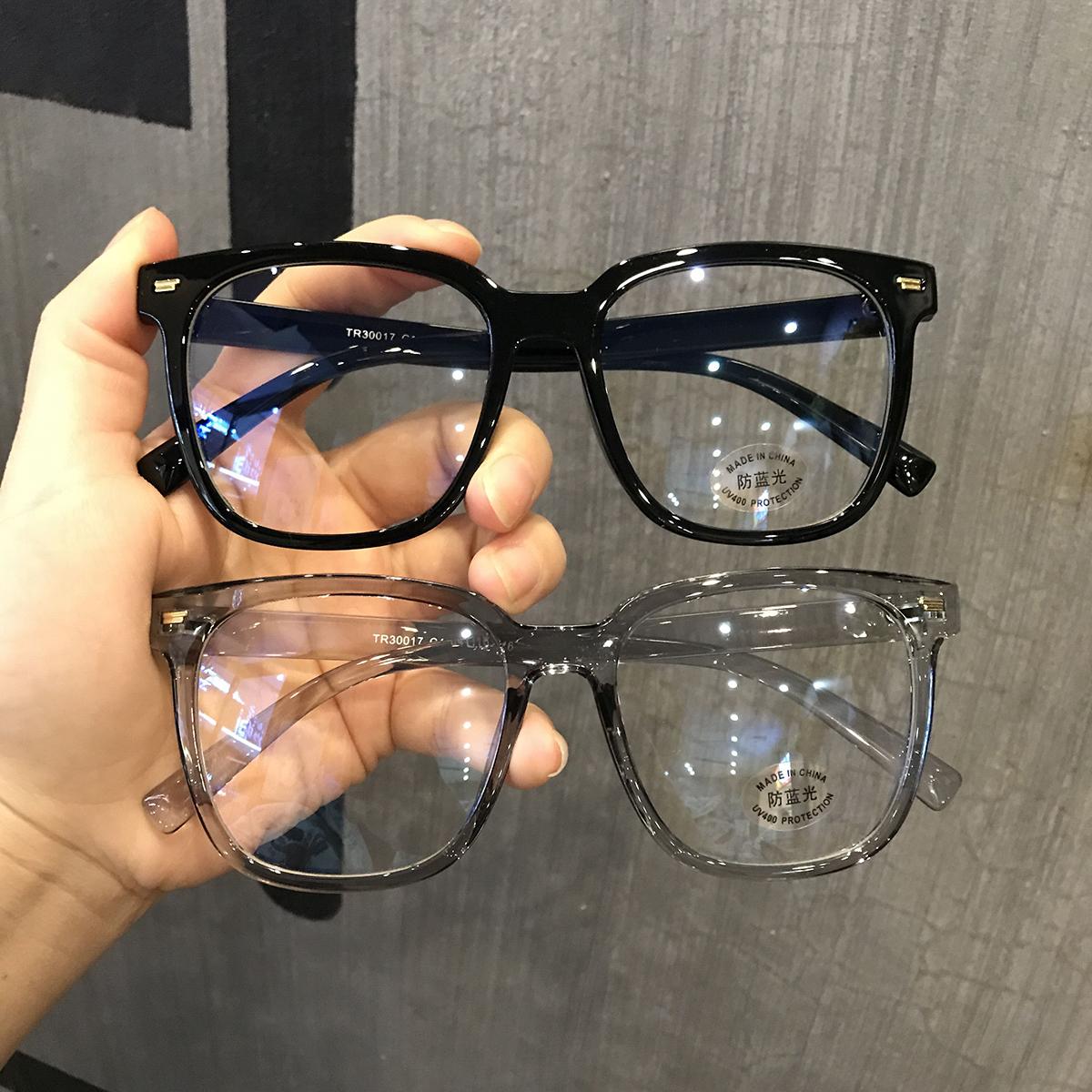 复古超大框素颜平光镜蓝光眼镜女豹纹...