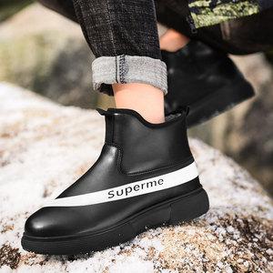 男士高帮棉鞋潮流时尚短筒防水雨鞋黑色皮面钓鱼鞋子防滑厨房男鞋