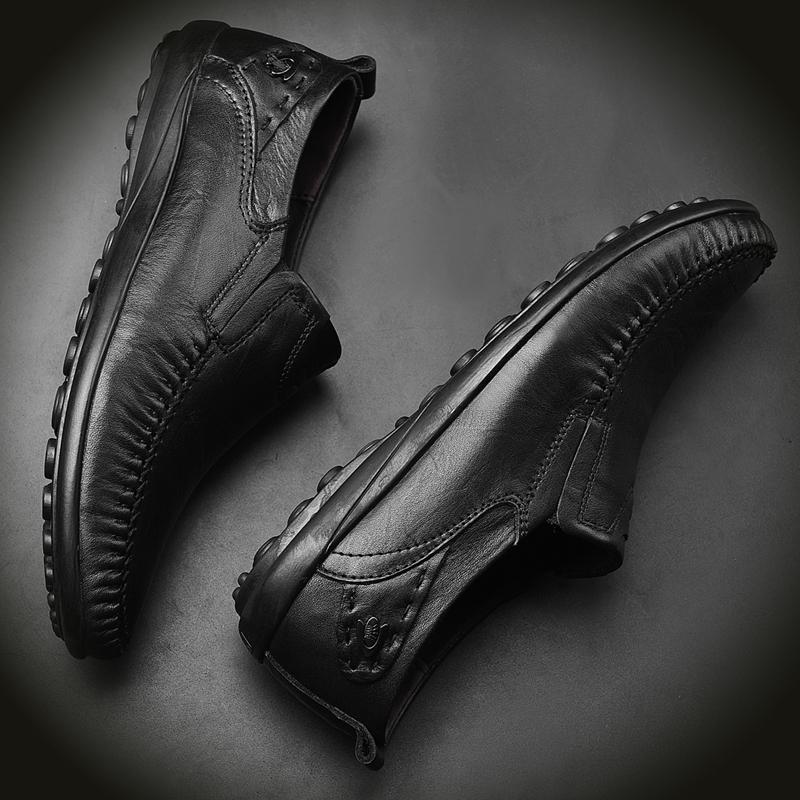 夏季男鞋头层牛皮男士皮鞋软底软面皮休闲皮鞋男真皮透气豆豆鞋子