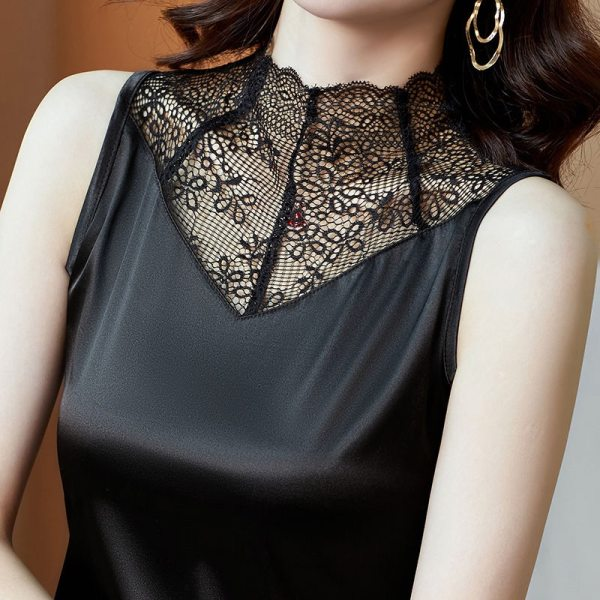 Summer large womens suit with suspender sleeveless silk satin bottomed blouse design sense vest womens fashion