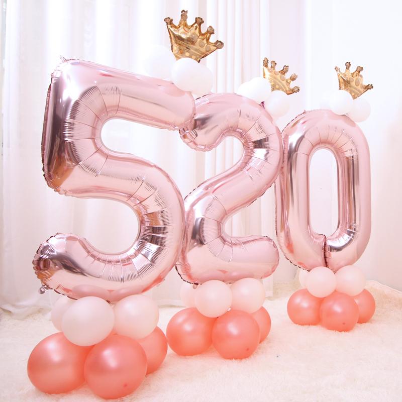 限8000张券40寸数字铝膜气球小皇冠立柱 创意婚礼婚庆生日气球婚房布置装饰