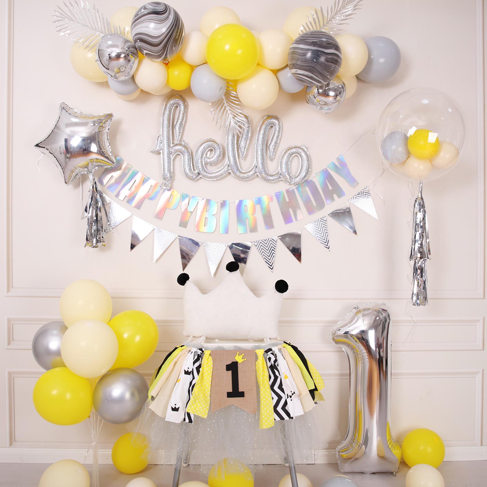 券后6.90元ins风黄灰色系马卡龙宝宝周岁气球