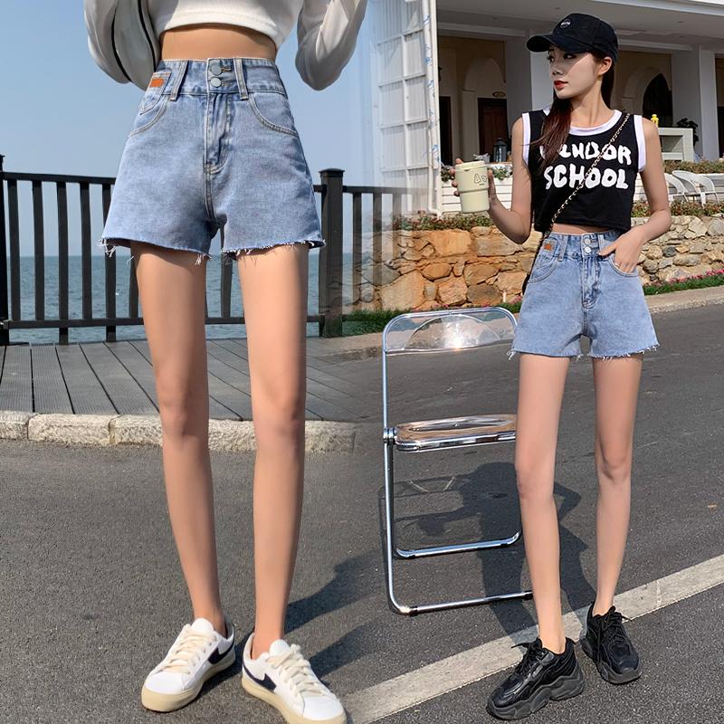 實拍排扣淺藍闊腿牛仔短褲女2021夏季韓版高腰顯瘦毛邊哈倫熱褲
