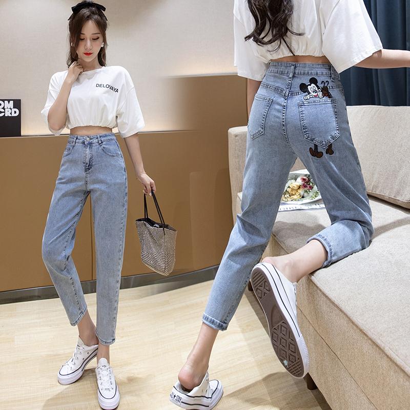 實拍刺繡米奇牛仔褲女2020夏季新款高腰寬松直筒褲彈力九分哈倫褲