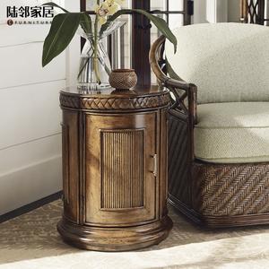 美式乡村进口全实木圆形设计床边柜沙发边几欧式角几边桌品质定制
