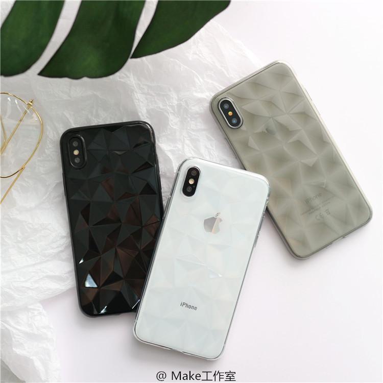 菱格立体X苹果6手机壳iPhone7plus/8/6s黑色透明软壳XR情侣XS/Max
