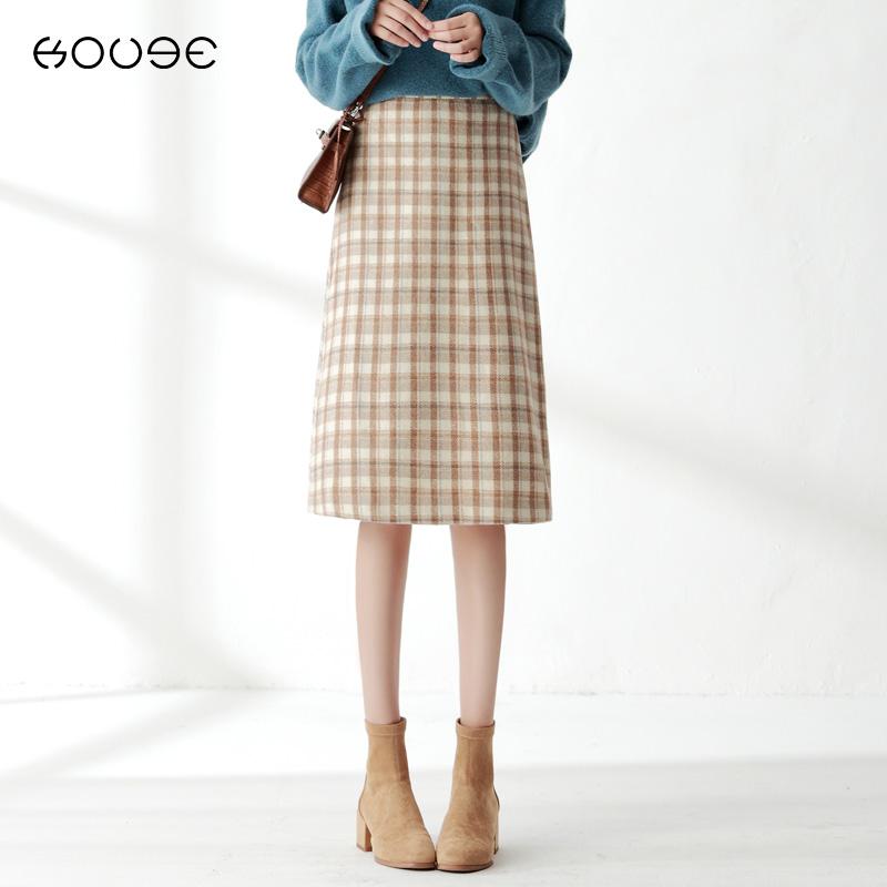 格子毛呢半身裙秋冬女方格裙子高腰a字裙包臀裙中长款冬天配毛衣