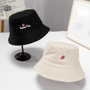 新款单面网红女渔夫帽女韩版百搭薄款防晒遮阳太阳帽日系盆帽子潮