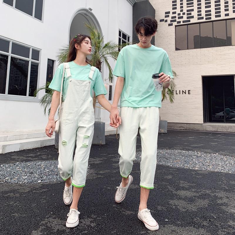 热销49件限时秒杀情侣装夏装小众设计感背带裙t恤