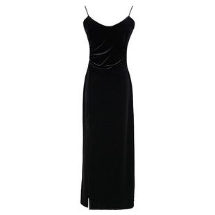 法式优雅气质抽褶v领金丝绒连衣裙