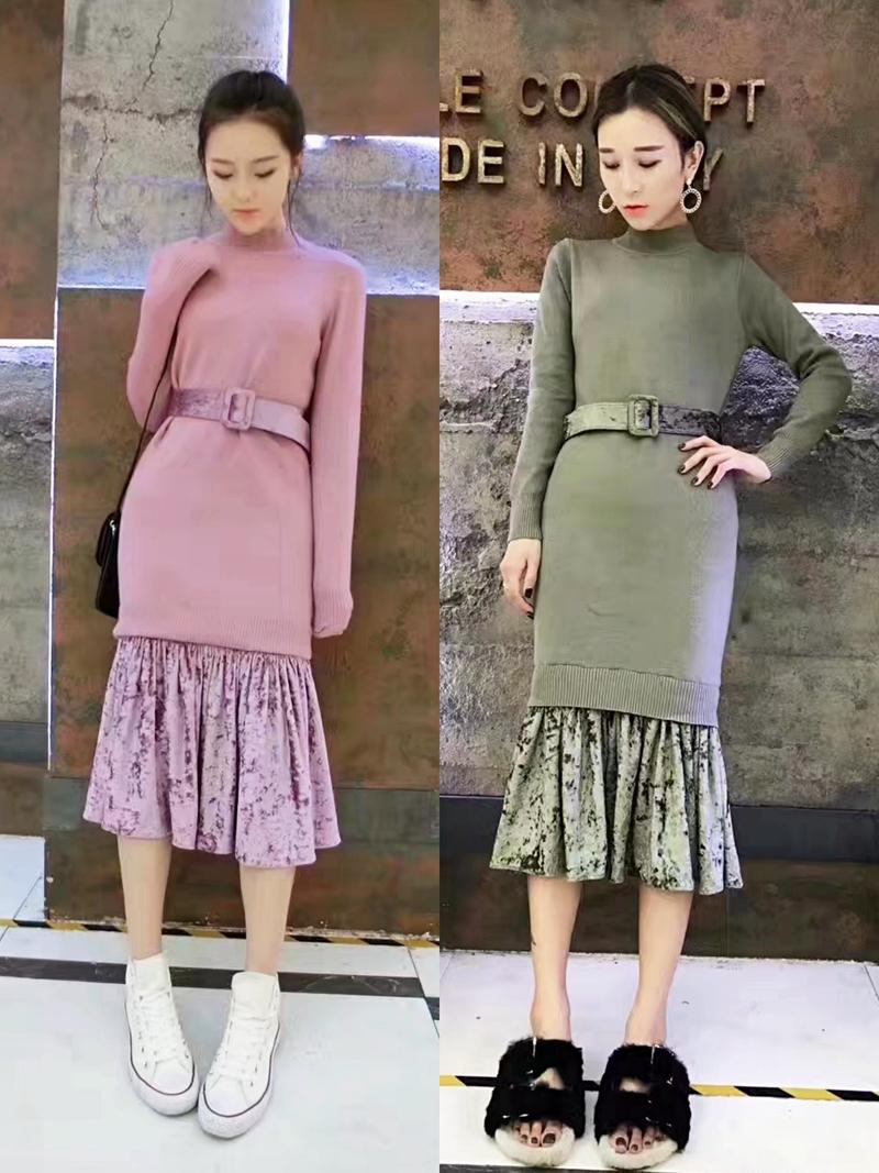 Dress womens autumn winter 2021 new Korean knitted elastic medium length skirt slim Long Sleeve Ruffle Skirt