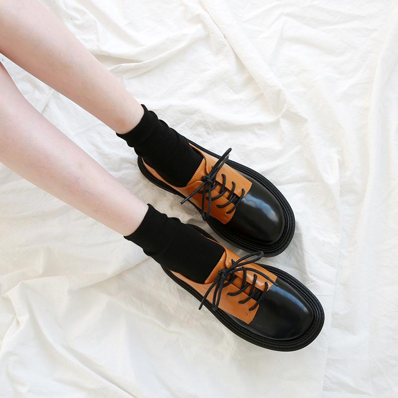 小皮鞋女英伦风2020新款春秋季韩版百搭系带拼色圆头漆皮平底单鞋