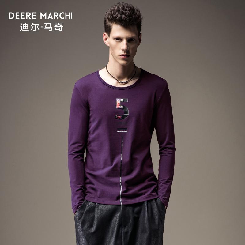 迪尔马奇春装新品男士修身长袖T恤 数字贴布印花休闲潮M07608