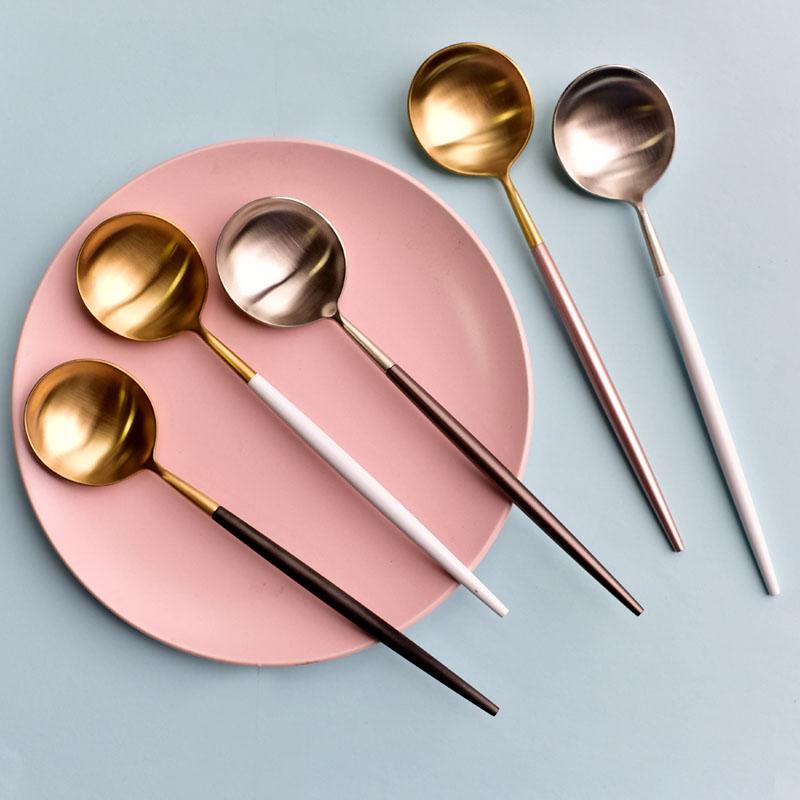 网红勺子家用304不锈钢长柄汤勺成人甜品更汤更葡萄牙西餐主餐勺