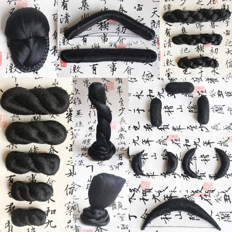 Древний наряд моделирование парик витой китайский одежда 8 слово пакет волосы булочка все волосы коровий рог подушка волосы может изгиб сложить красивый зерна нефрит человек песня