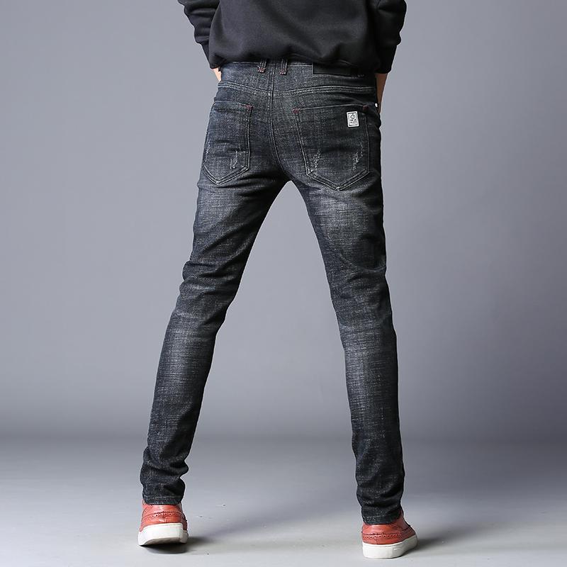 Zerojeas black hole jeans mens slim elastic fashion brand small feet Korean style loose and versatile pants
