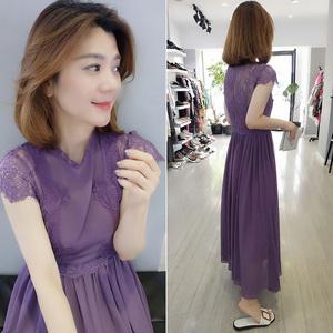 欧洲站春装女2021新款欧货时尚紫色蕾丝长裙子气质收腰雪纺连衣裙