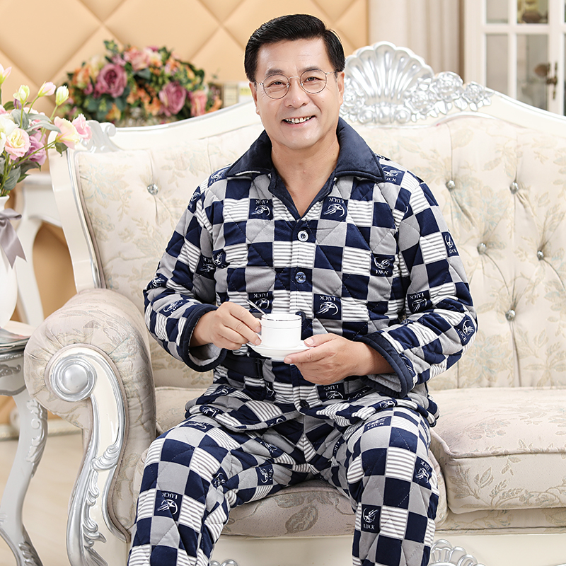 Mens pajamas winter clothes middle aged and old peoples pajamas mens winter thickened Plush old mans fathers home clothes set for keeping warm