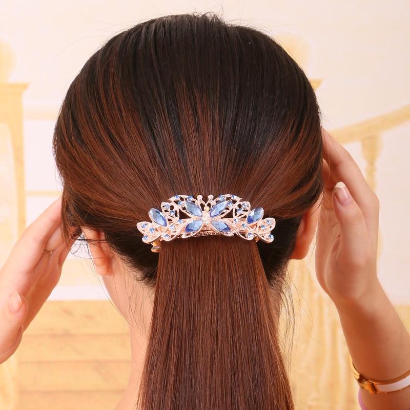 Korean fashion large hairpin horsetail clip crystal top clip hairpin Rhinestone Jewelry spring clip butterfly horizontal clip headdress