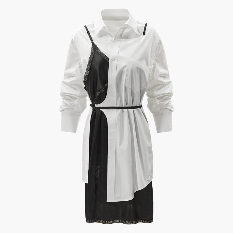 多种穿法 蕾丝镶边缎面吊带连衣裙 穿插拼接 褶皱袖长衬衣 两件套