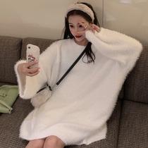 加肥加大码韩版纯色百搭毛绒针织衫冬季200斤胖MM宽松学生毛衣女