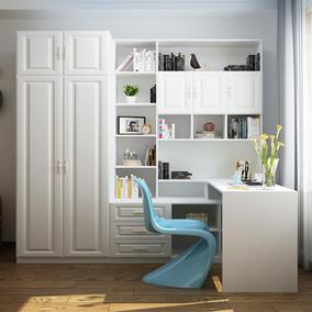 北欧电脑桌衣柜一体小户型卧室书柜