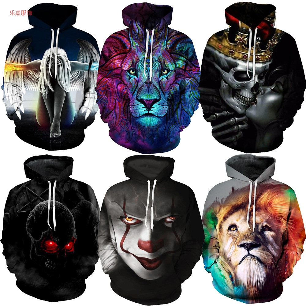 Thin 3D printed sweater mens loose Pullover Hoodie student personality coat hip hop animal wolf tiger head summer