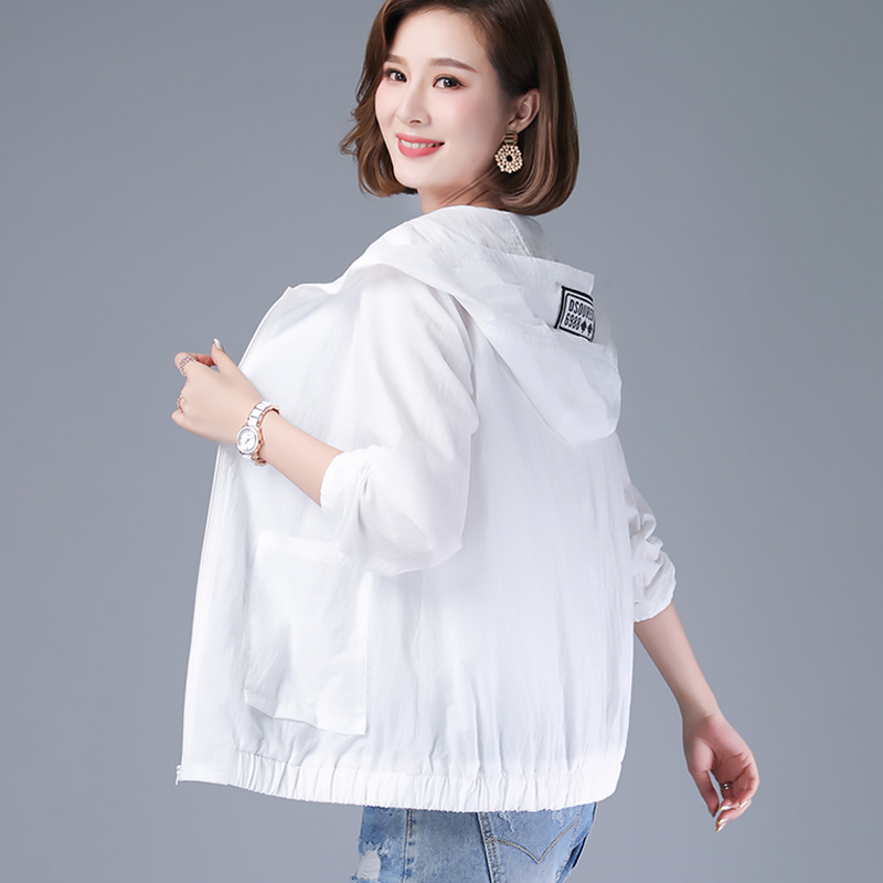 Mesh breathable double layer thin coat Hooded Jacket middle aged and elderly mothers summer small womens sun proof clothes