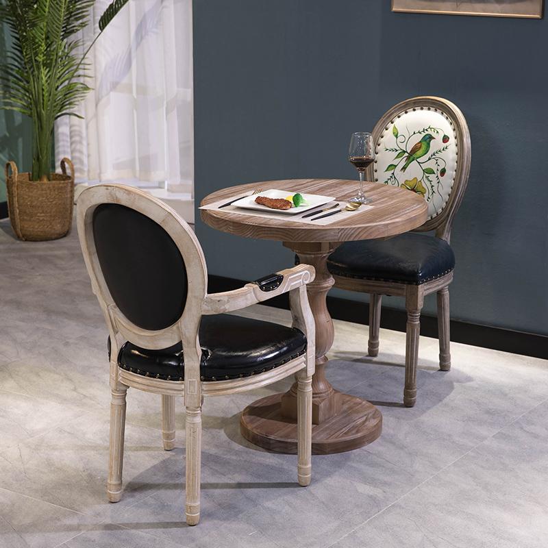 复古圆桌茶几实木餐桌电脑桌办公家具咖啡桌子摄影道具颜色可定做