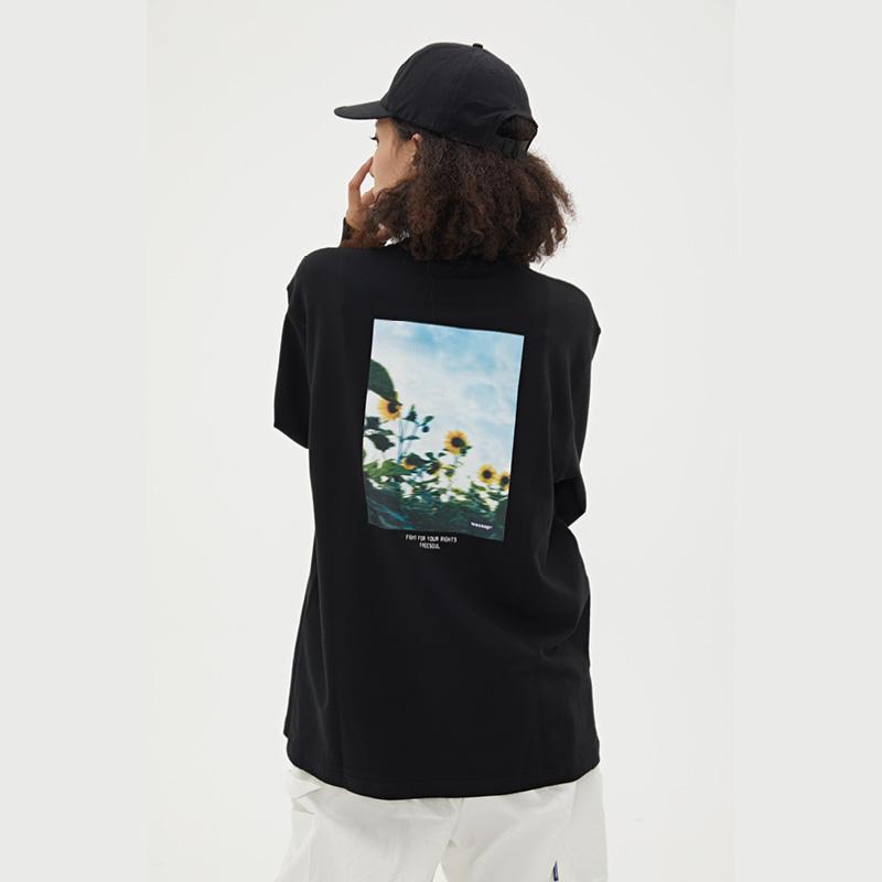WASSUP2019新品潮流个性创意向日葵照片圆领长袖上衣套头打底衫