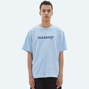 WASSUP2019春季新品基礎短袖潮流休閑純色半袖打底圓領男裝t恤