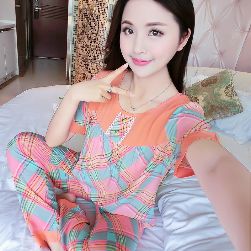 32.00元包邮棉绸睡衣女士夏季短袖长裤薄款大码人造棉套装韩版绵绸卡通家居服