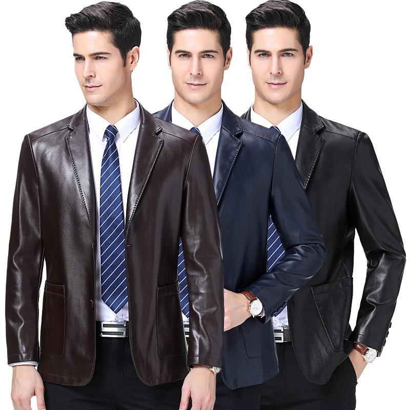 西装领皮衣绵羊皮中年男士皮夹克商务休闲爸爸皮衣薄款外套男装
