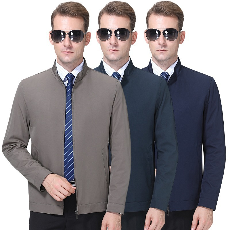 Spring mens authentic fathers thin jacket casual top large mens stand collar jacket autumn solid color