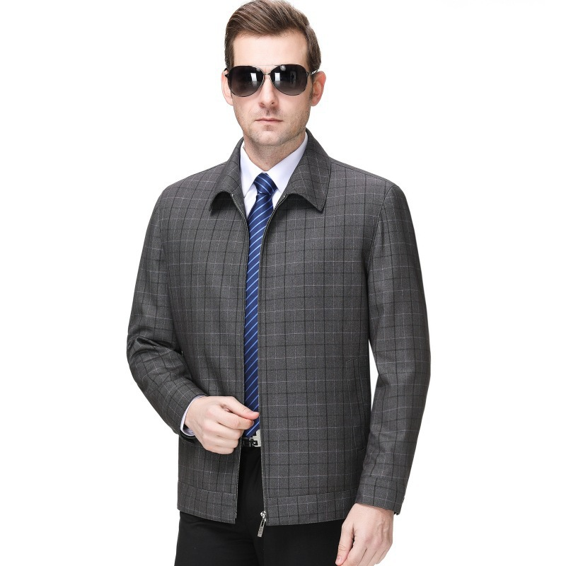 Brand new middle aged mens casual jacket fathers coat Plaid Wool Jacket non iron
