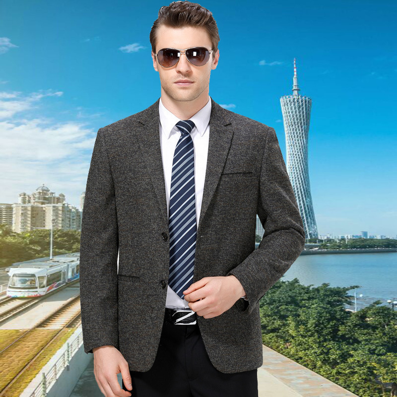 Autumn and winter mens suit fashion leisure middle aged wool single suit solid color coat one hair substitute one double breasted
