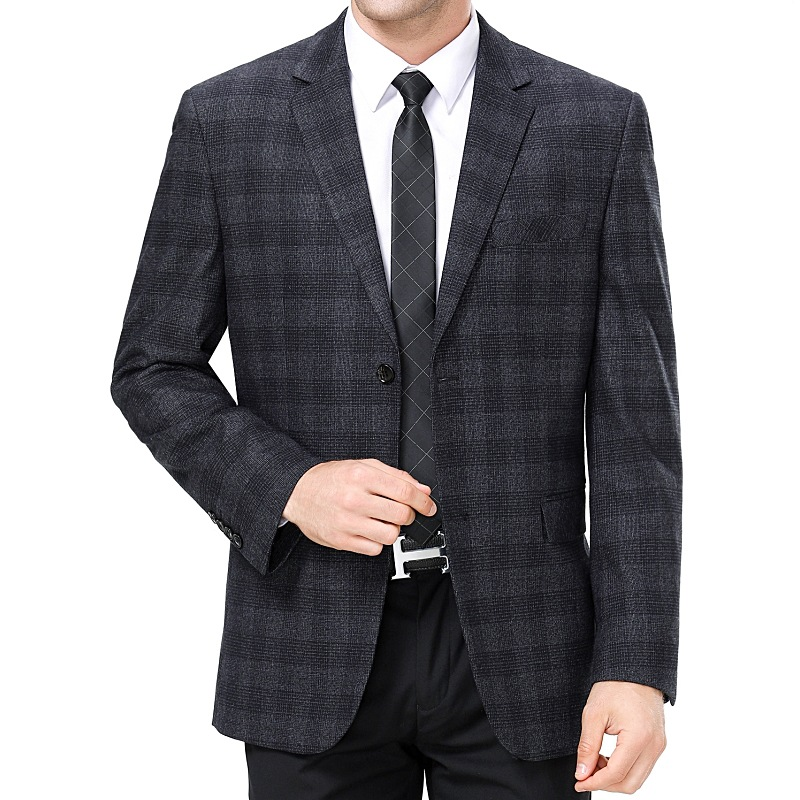 Ouana autumn and winter Plaid suit male middle-aged father Western wool business spot coat single leisure