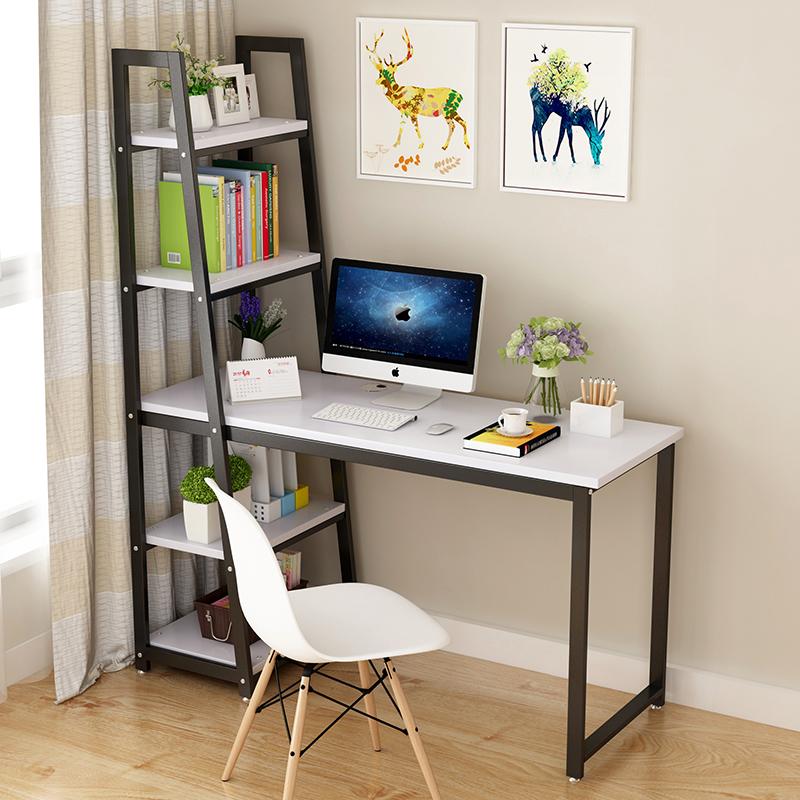 简约电脑桌家用转角台式办公桌书桌带书架的组合简易双人学生写字