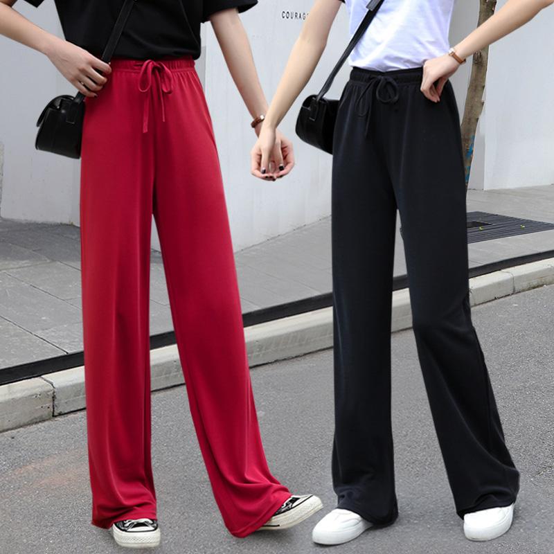 不包邮铜氨丝夏高腰直筒冰丝垂感阔腿裤