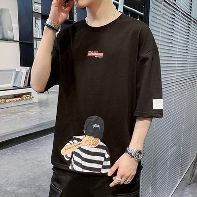JL模特 2020簡約大碼卡通原創純棉短袖T恤 黑色 A161-T3129-P35