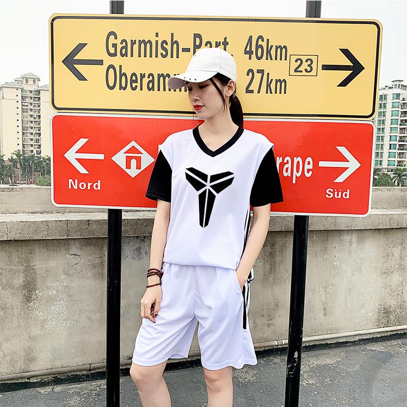 女生假两件短袖篮球服套装女学生嘻哈街头宽松bf风球衣短袖训练服